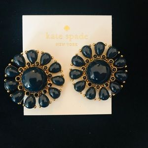 Kate Spade glossy blue flower clip-on earrings